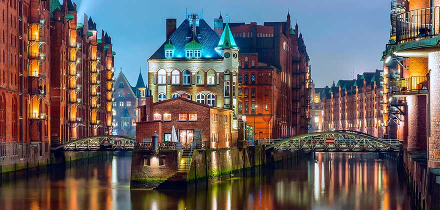 Germany Hamburg lights bridge houses river night 1920x1200